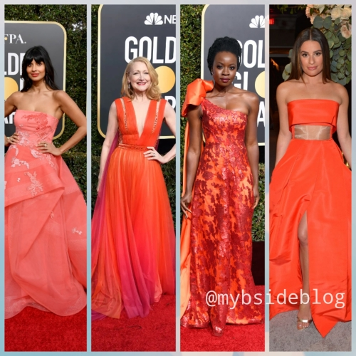 living coral; cor do ano 2019; pantone; globo de ouro; vestidos